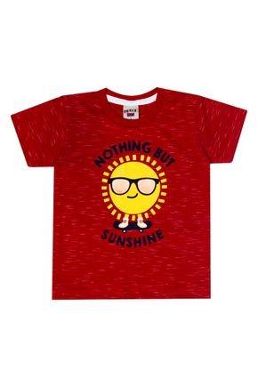 Camiseta Menino de Verão em Meia Malha Jet Vermelha - Pimentinha