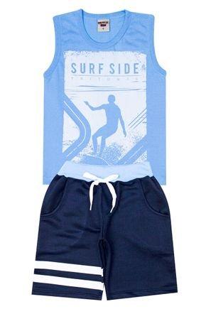 Conjunto Menino de Verão Regata Azul e Bermuda Marinho - Pimentinha