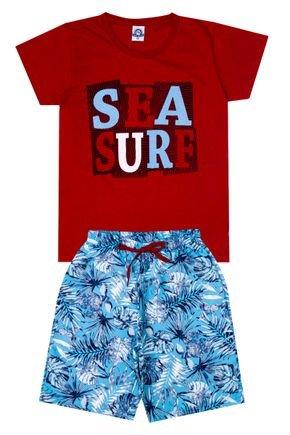 Conjunto Menino de Verão Camiseta Vermelha e Bermuda Azul - Pimentinha