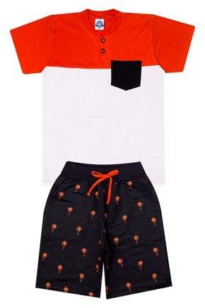 Conjunto Menino de Verão Camiseta Laranja e Bermuda Preto - Pimentinha