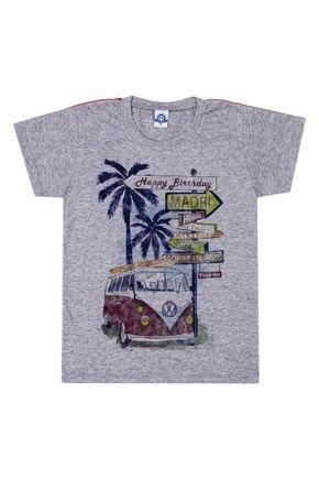 Camiseta Menino de Verão em Meia Malha Mescla - Pimentinha