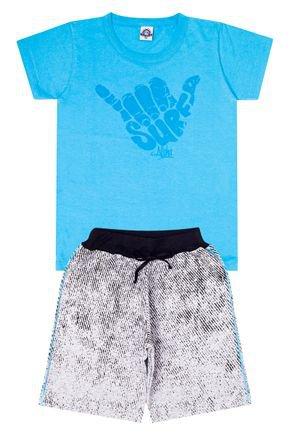 Conjunto Menino de Verão Camiseta Azul e Bermuda Mescla - Pimentinha