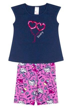 Conjunto Menina em Cotton Blusa Marinho e Shorts Rosa Rotativo - Analê
