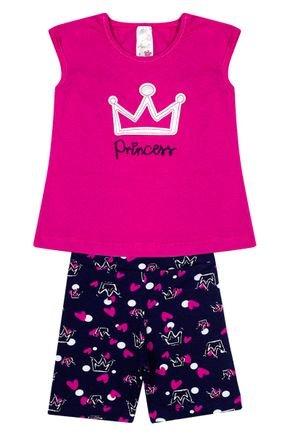 Conjunto Menina em Cotton Blusa Pink e Shorts Marinho Rotativo - Analê