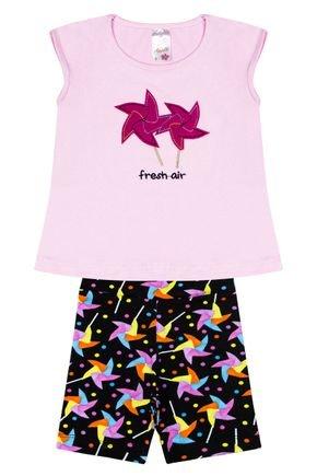 Conjunto Menina em Cotton Blusa Rosa e Shorts Preto Rotativo - Analê