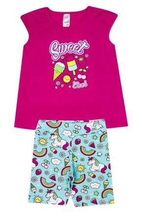 Conjunto Menina em Cotton Blusa Pink e Ciclista Verde Claro Rotativa - Analê