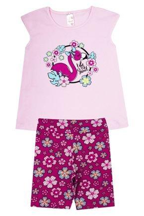 Conjunto Menina em Cotton Blusa Rosa e Ciclista Pink Rotativa - Analê