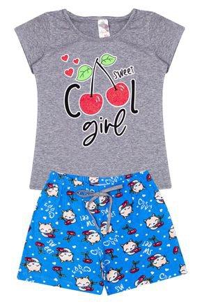 Conjunto Menina em Cotton Blusa Mescla e Shorts Azul - Analê