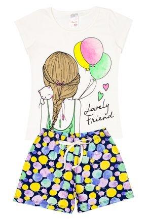Conjunto Menina em Cotton Blusa Off White e Shorts Marinho - Analê