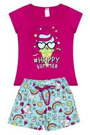 Conjunto Menina em Cotton Blusa Pink e Shorts Verde Claro - Analê
