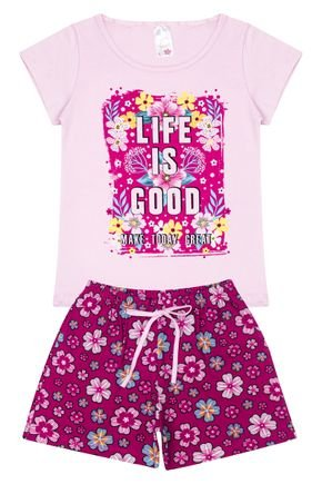 Conjunto Menina em Cotton Blusa Rosa e Shorts Pink - Analê