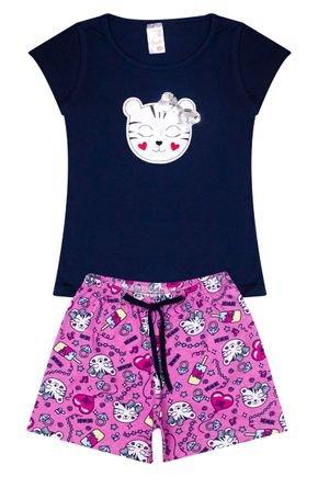 Conjunto Menina em Cotton Blusa Marinho e Shorts Rosa - Analê
