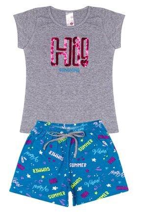 Conjunto Menina em Cotton Blusa Mescla e Shorts Jade - Analê
