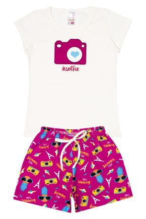 Conjunto Menina em Cotton Blusa Off White e Shorts Pink - Analê