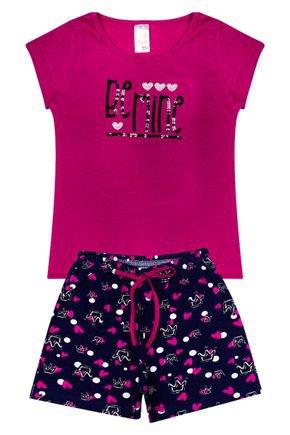 Conjunto Menina em Cotton Blusa Pink e Shorts Marinho - Analê