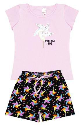 Conjunto Menina em Cotton Blusa Rosa e Shorts Preto - Analê