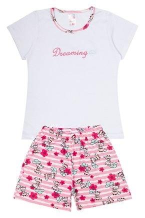 Conjunto Pijama Infantil Menina  Blusa Branca e Shorts Rosinha - Analê
