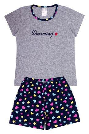 Conjunto Pijama Infantil Menina Blusa Mescla e Shorts Marinho - Analê
