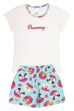 Conjunto Pijama Infantil Menina Blusa Off White e Shorts Verde Claro - Analê