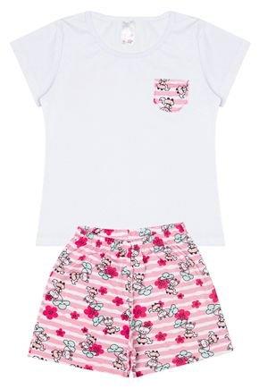 Conjunto Pijama Menina Blusa Branco e Shorts Rosinha Rotativo - Analê