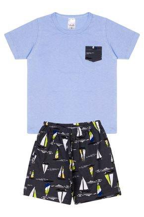 Conjunto Infantil Menino Camiseta Azul e Bermuda Preta - Analê