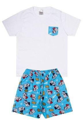 Conjunto Infantil Menino Camiseta Branca e Bermuda Azul - Analê