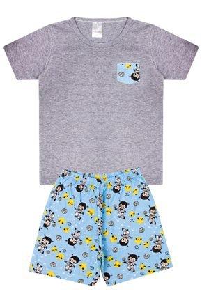 Conjunto Infantil Menino Camiseta Mescla e Bermuda Azul - Analê