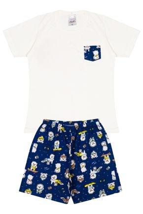 Conjunto Infantil Menino Camiseta Off White e Bermuda Marinho - Analê