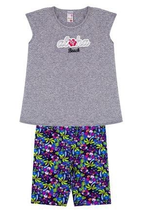 Conjunto Menina em Cotton Blusa Mescla e Ciclista Azul Rotativa - Analê