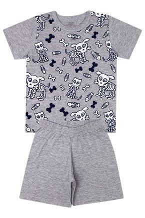 Conjunto Pijama Menino em Meia Malha Mescla - Bicho Bagunça