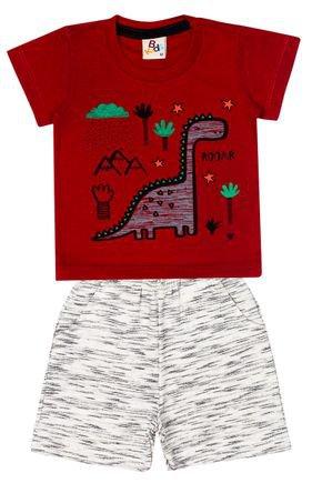 Conjunto Menino de Verão Camiseta Verde Claro e Bermuda Mescla - B Kids