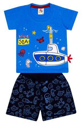 Conjunto Menino de Verão Camiseta Azul e Bermuda Marinho - B Kids