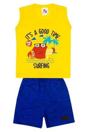 Conjunto Menino de Verão Regata Amarela e Bermuda Royal - B Kids