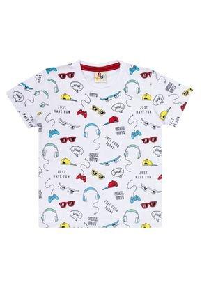 Camiseta Menino de Verão em Meia Malha Branca Rotativa - B Kids