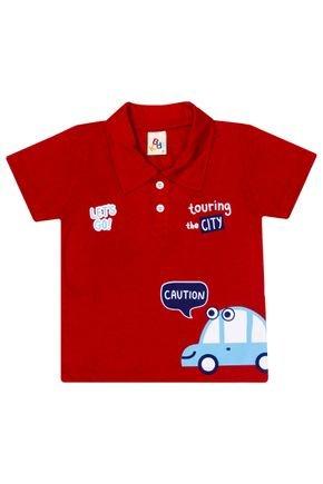 Camiseta Polo Menino de Verão em Meia Malha Vermelha - B Kids