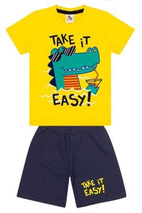 Conjunto Menino de Verão Camiseta Amarela e Bermuda Marinho - B Kids