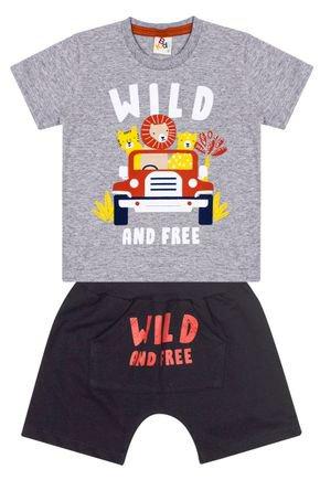 Conjunto Menino de Verão Camiseta Mescla e Bermuda Preto - B Kids