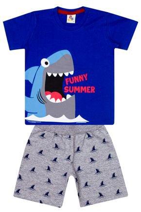 Conjunto Menino de Verão Camiseta Royal e Bermuda Mescla - B Kids