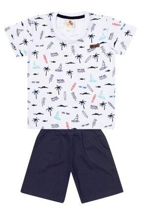 Conjunto Menino de Verão Camiseta Branca e Bermuda Marinho - B Kids