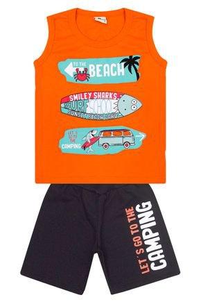 Conjunto Menino de Verão Regata Laranja e Bermuda Preto - B Kids