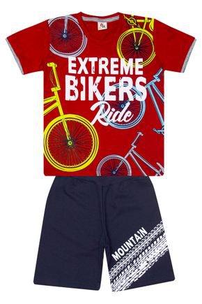 Conjunto Menino de Verão Camiseta Vermelha e Bermuda Marinho - B Kids