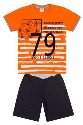 Conjunto Menino de Verão Camiseta Laranja e Bermuda Preto - B Kids
