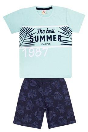 Conjunto Menino de Verão Camiseta Verde Claro e Bermuda Marinho - B Kids