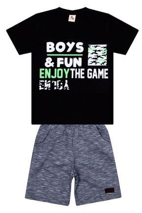 Conjunto Menino de Verão Camiseta Preta e Bermuda Chumbo - B Kids