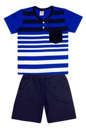 Conjunto Menino de Verão Camiseta Royal e Bermuda Marinho - B Kids