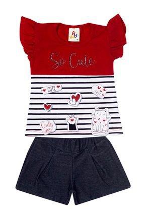 Conjunto Menina de Verão Blusa Vermelha e Shorts Jeans Marinho - B Kids