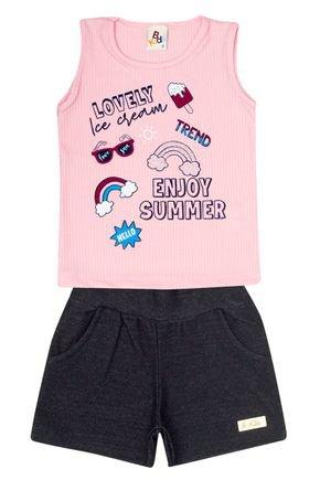 Conjunto Menina de Verão Blusa Rosa e Shorts Jeans Preto - B Kids