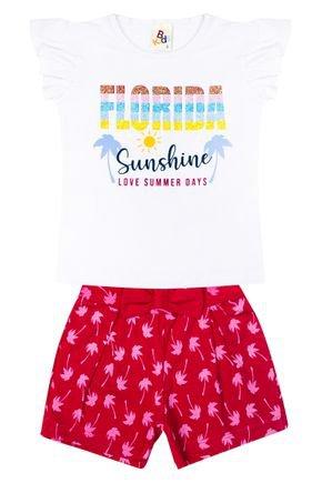 Conjunto Menina de Verão Blusa Blusa Branca e Shorts Pink - B Kids