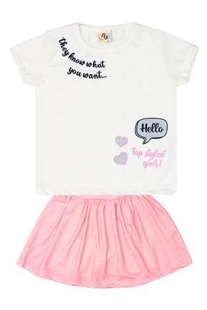 Conjunto Menina de Verão Blusa Off White e Shorts Saia Rosa - B Kids