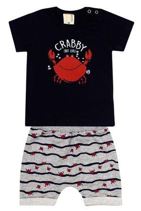 Conjunto Menino de Verão Camiseta Marinho e Bermuda Mescla - Hrradinhos